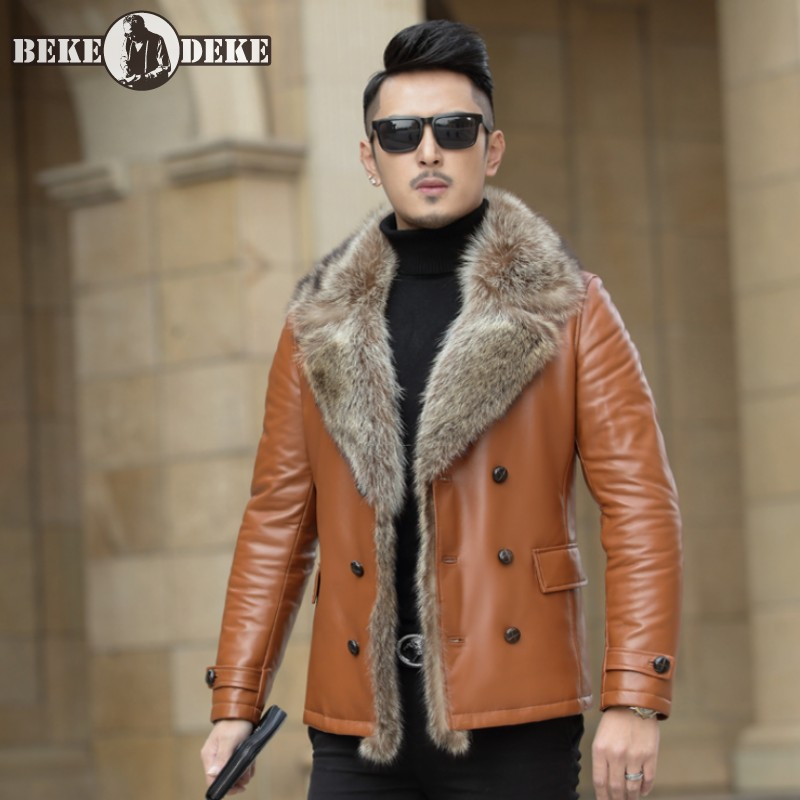 High Quality Mens Winter Raccoon Fur Collar Down Jacket Business Man Slim Fit Sheepskin Genuine Leather Jacket Thick Overcoat
