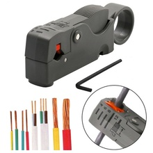 купить 1pcs Coaxial cable stripper network tool rotating stripper gray stripping knife wire stripping pliers дешево