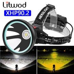 Xhp90.2 Белый Желтый цвет светодиодный налобный фонарь фонарик 32 Вт лампы 3*18650 аккумулятор банк питания 7800 мАч свет