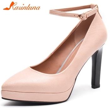 KARINLUNA New Top Quality Ladies Dress Pumps Ankle Strap Dropshiping Water Proof Platform High Heel Pumps Women Shoes Woman