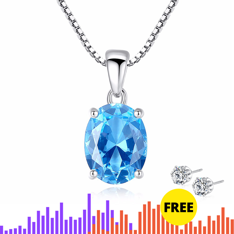 CZCITY Sky Blue Topaz Stone Pendant 2.3 Carat Oval Shape Solitaire Natural Topaz 925 Sterling Silver Chain Necklace For Women
