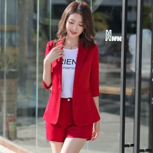 summer Slim Solid color thin Half sleeve blazers jacket shorts 2-piece set OL Fo