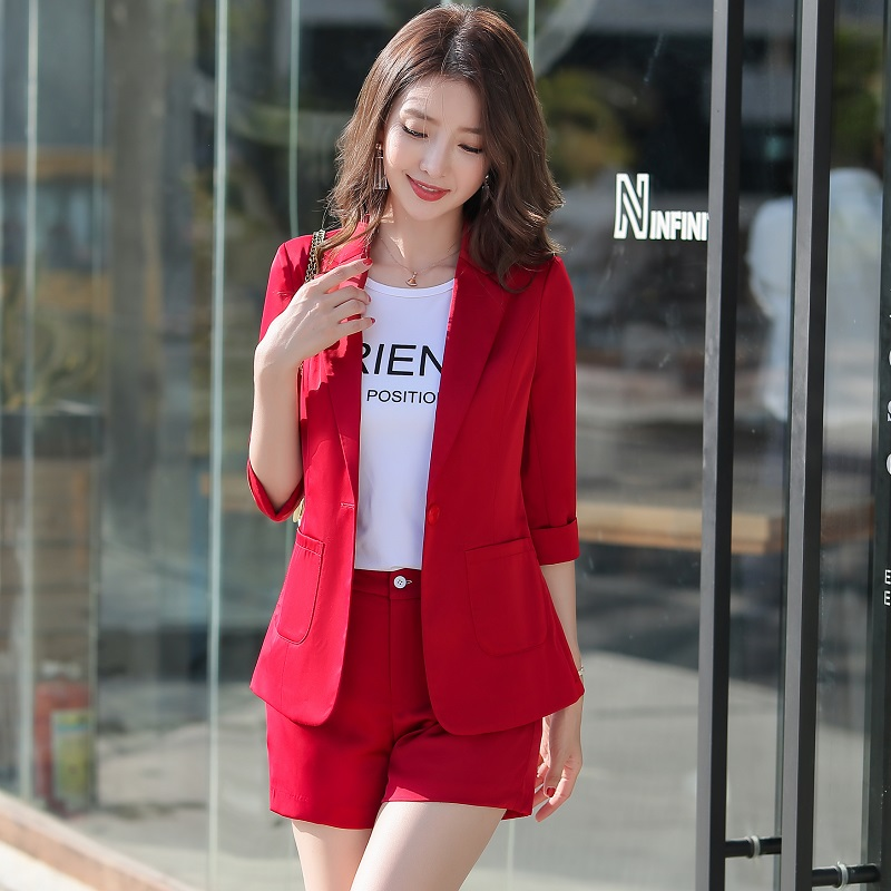 Summer Slim Solid Color Thin Half Sleeve Blazers Jacket Shorts 2-piece Set OL Formal Women Pants Suits Woman Set Suits 88227