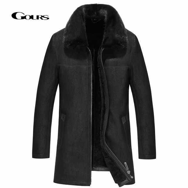 Gours Winter Genuine Leather Jackets Men Fashion Black Real Shearling Sheepskin Long Coat with Natural Mink Fur Collar GSJF1927