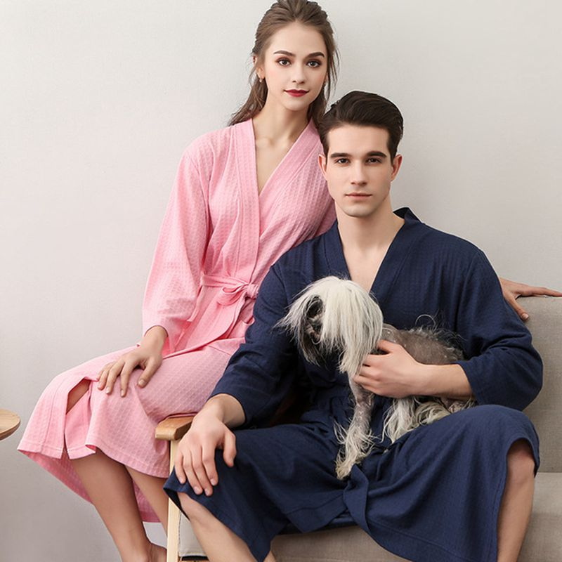Bathrobe Female Skin Waffle Couple Nightgown Men And Robe Women   Fashion Bathrobes Absorbent New Pajamas