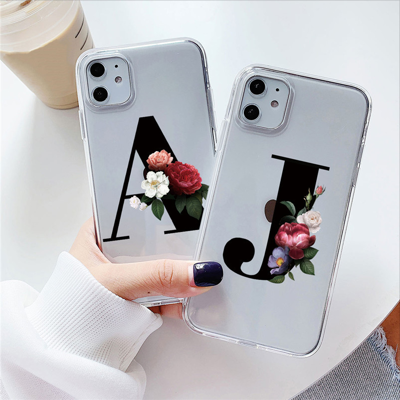 Alphabet Letter Flower Silicon Case For Samsung Galaxy S20 Ultra S10 S8 S9 Plus Transparent Clear Soft TPU Funda For Samsung S20