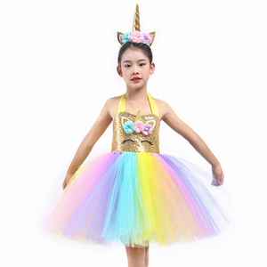 Image 5 - Kids Flower Sequins Tulle Unicorn Dress Cute Lol Unicorn Costume for Girls Birthday Child Christmas Clothes Baby Party Frocks