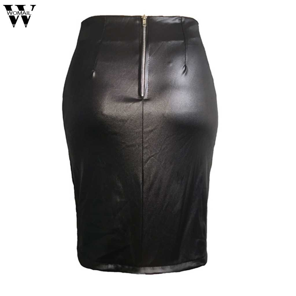 Womail Bayan Seksi Lace Up Bandaj Bölünmüş Deri Etek Yüksek Bel Kulübü Parti Sıkı Kalem Bodycon Streç Kısa Diz Etek siyah