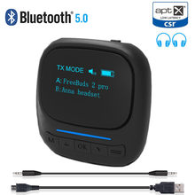 Aptx LL AAC Bluetooth 5.0 Audio Transmitter Receiver with OLED Display 3.5mm AUX Jack RCA Wireless Adapter for TV Car PC Speaker