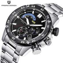PAGANI DESIGN 2019 Hot sales atch quartz watch refined steel band fashion leisure sports waterproof multi-functional men's watch white ceramics band design mens leisure watch