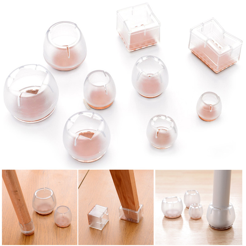 Chair Leg Caps Floor Protector Round Furniture Table Feet Silicone Covers Useful Pads Socks Floor Square Bottom Non-Slip Cups