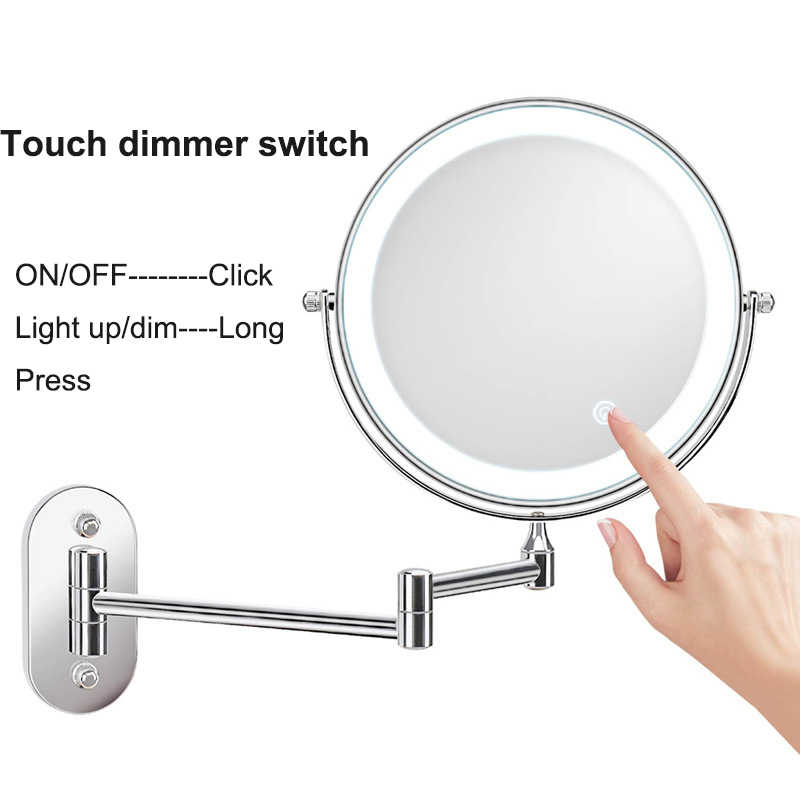 3x Magnifying Led Makeup Mirror Wall Mounted 2 Face Vanity Mirror Touch Dimming Led Mirror Light Wall Mount Mirrors 8 Inches Makeup Mirrors Aliexpress