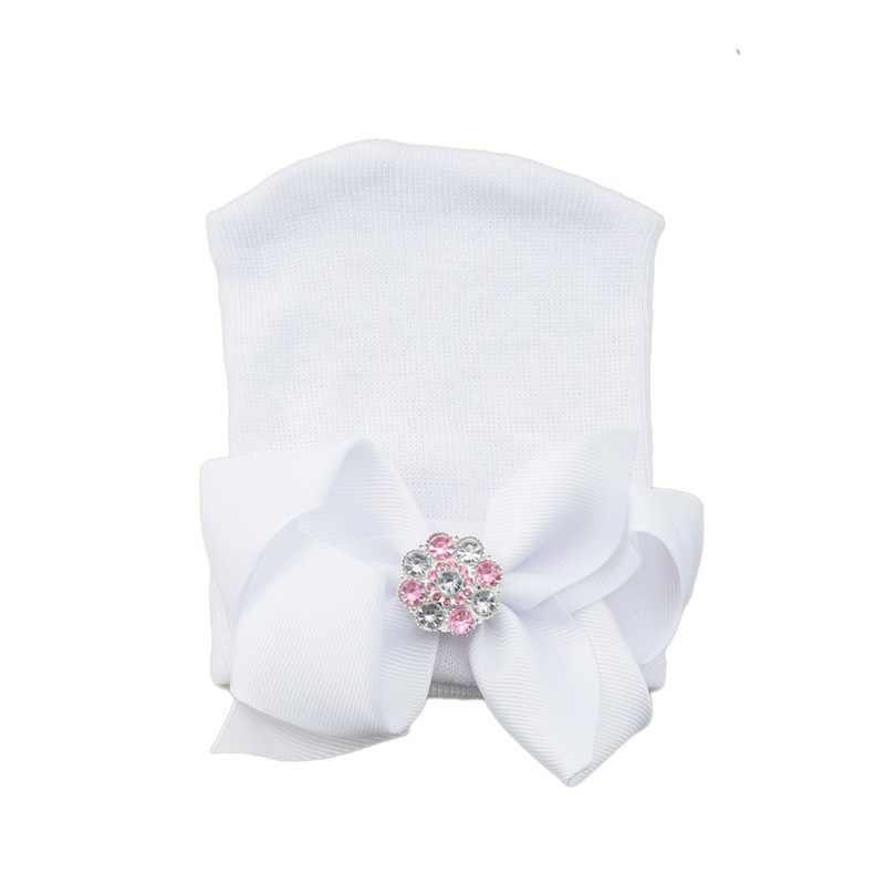 Bayi Baru Lahir Bergaris Hat Balita Bayi Topi Hangat Lembut Rumah Sakit Anak Perempuan Topi Busur Beanies untuk Baru Lahir Sebagai Hadiah 10*12 Cm