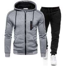 Men's Autumn Winter Tracksuit Zipper Hoodie and Pants 2 Piece Casual Sportswear Jogger Running Suit Fitness Sweatshirt Cardigian