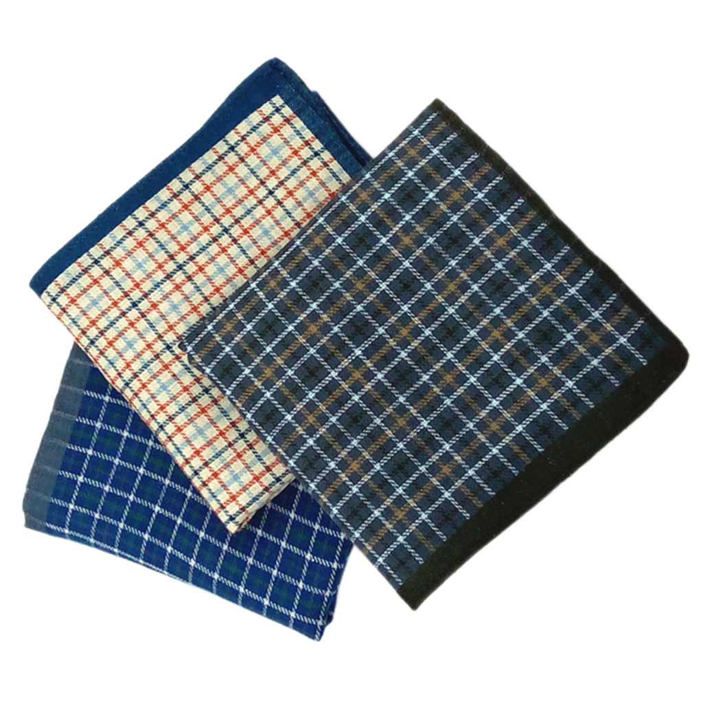 12x MAN 100% Cotton Handkerchiefs BLUE Classic Hanky Plaid Hankies Casual Kerchief 43cm Towel Prom Wedding Party Gift
