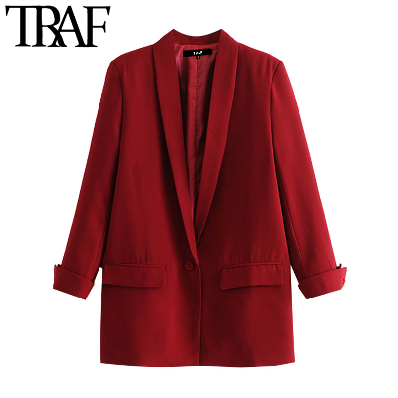 TRAF Women Fashion Office Wear Pockets Blazer Coat Vintage Three Quarter Sleeve Female Outerwear Chic Tops