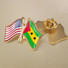 Banderas cruzadas de doble amistad, insignias, broche, solapa, alfileres