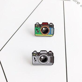 Мультяшные Броши с изображением камеры для женщин, 2 цвета, радужная цифровая камера, эмалированные заколки, пальто, кепка, рюкзак, фото, детский значок, подарки