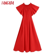 Tangada 2020 fashion women red off shoulder dress short sleeve strethy bust ladi