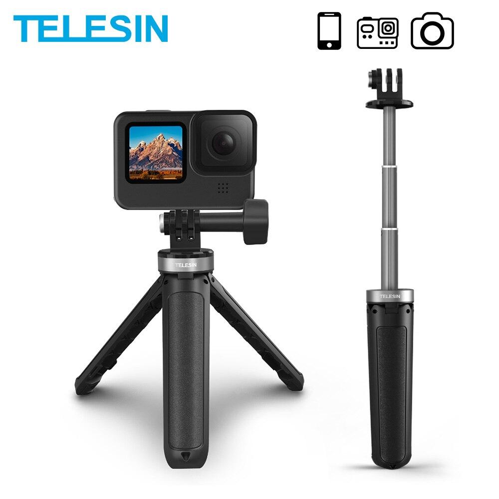 Telesin mini selfie vara liga de alumínio portátil plástico ajustável para gopro 9 osmo ação insta360 para iphone android câmera