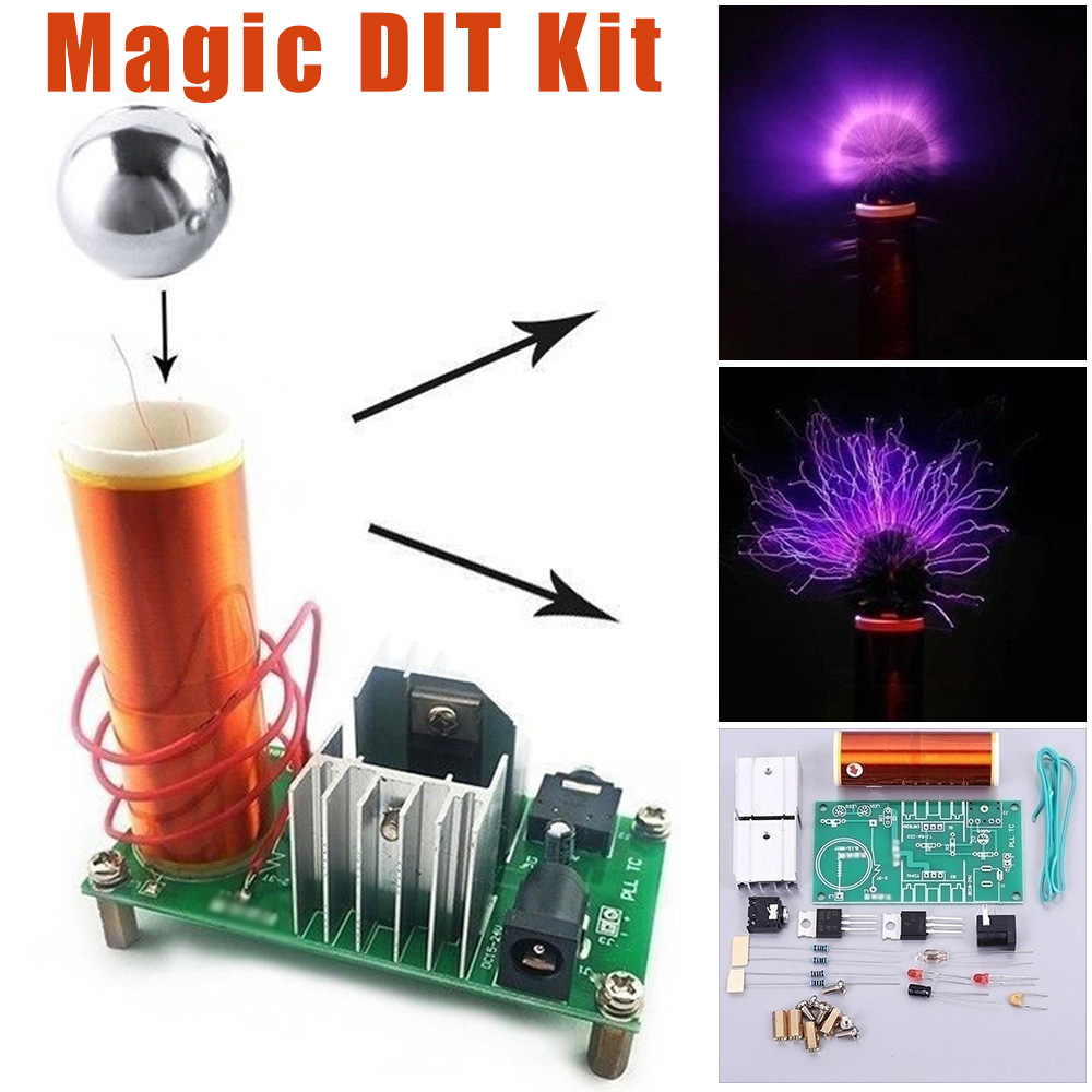 15W Mini DIY Tesla Coil Kit Plasma Speaker Electronic Parts With Ball Accessories Magic Props Empty Lights Technology Electronic