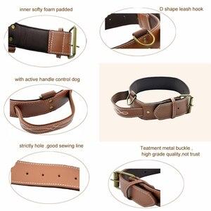 Image 2 - Big Dog Collar PU Leather Strong Dog Collar Leash with Handle PU Black Brown Pet Dogs Leash Collar CLPU01