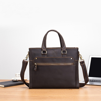 Men Briefcase Genuine Leather Laptop Bag 13.3 PC Doctor Lawyer Computer Cowhide Male Cow