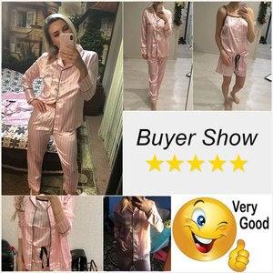 Image 5 - Bộ Đồ Ngủ Nữ Bộ Đồ Ngủ Lụa Nữ 7 Món Đồ Ngủ Mùa Đông Gợi Cảm Pijamas Nữ Mềm Ngọt Dễ Thương VÁY NGỦ Pyjama Set