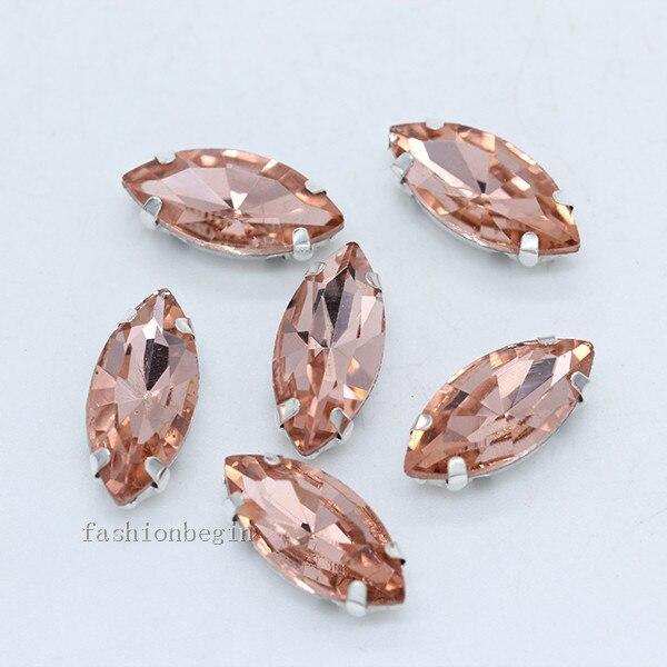 Всех размеров Наветт 24-цветное стекло камень с плоской задней частью, пришить с украшением в виде кристаллов Стразы драгоценные камни бисер с серебряной нитью, бледно-коготь кнопки для одежды аксессуары - Цвет: peach