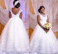 African Applique Lace Wedding Gowns 2020 Nigeria Black Girl Women Bridal Dresses Ball Gown Handmade Wedding Dress