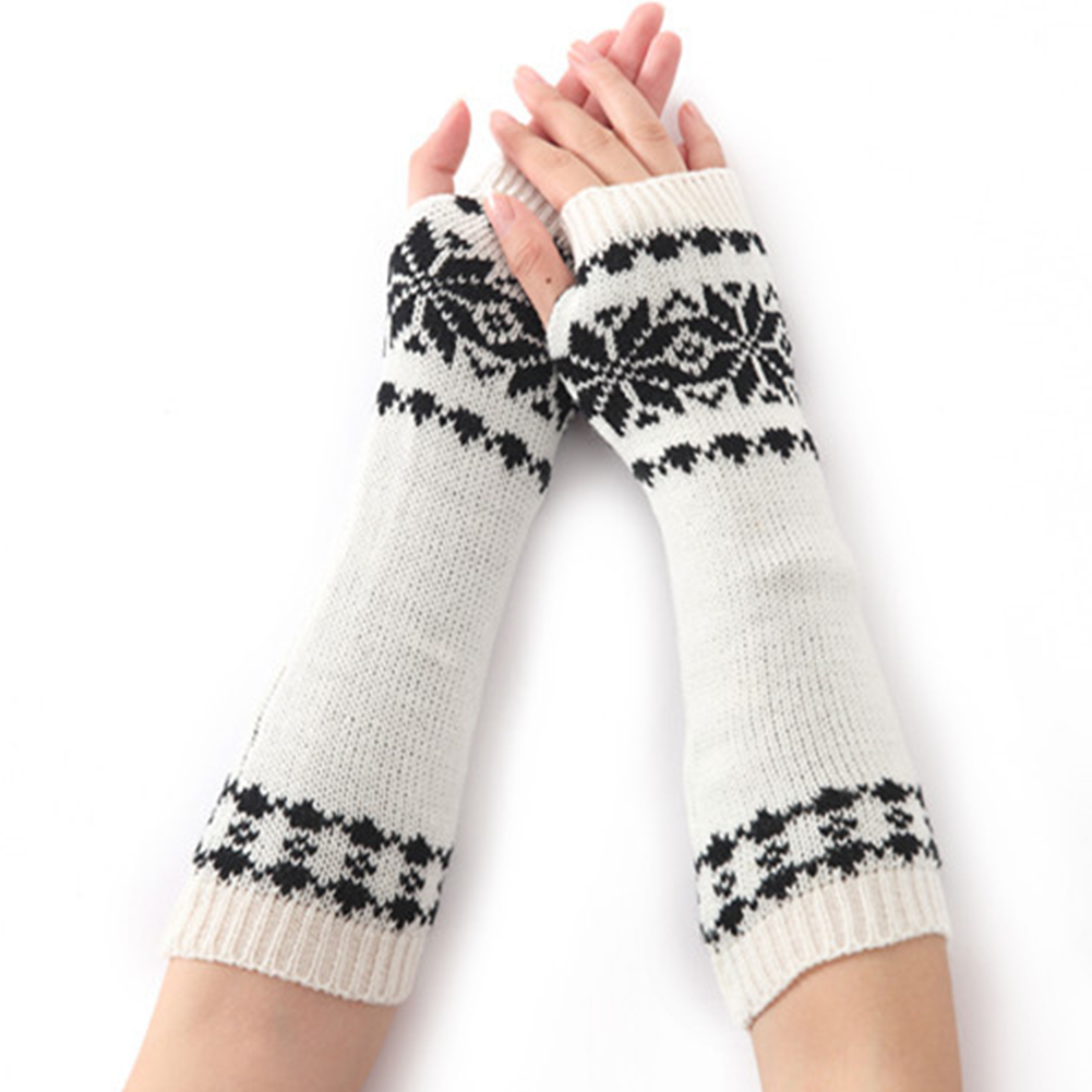 Gift Long For Women Arm Warm Gloves Knit Winter Fingerless Girls Snow Pattern