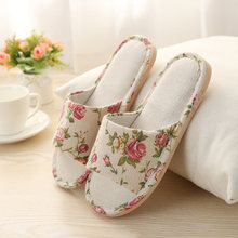 Japanese Style Floral Slippers Women Spring Autumn Home Slippers Couples Linen Cotton Floor Flat Shoes Slippers Ladies Indoor(China)