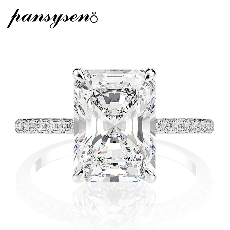 PANSYSEN Real 925 Sterling Silver Emerald Cut Created Moissanite Diamond Wedding Rings For Women Luxury Proposal Engagement Ring