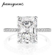 PANSYSEN-anillos de boda de diamante de moissanita para mujer, Plata de Ley 925 auténtica de corte de Esmeralda, propuesta de compromiso de lujo