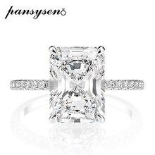 PANSYSEN Reale 925 Sterling Silver Taglio Smeraldo Creato Moissanite Anelli di Nozze di Diamante per le Donne di Lusso Proposta Anello di Fidanzamento
