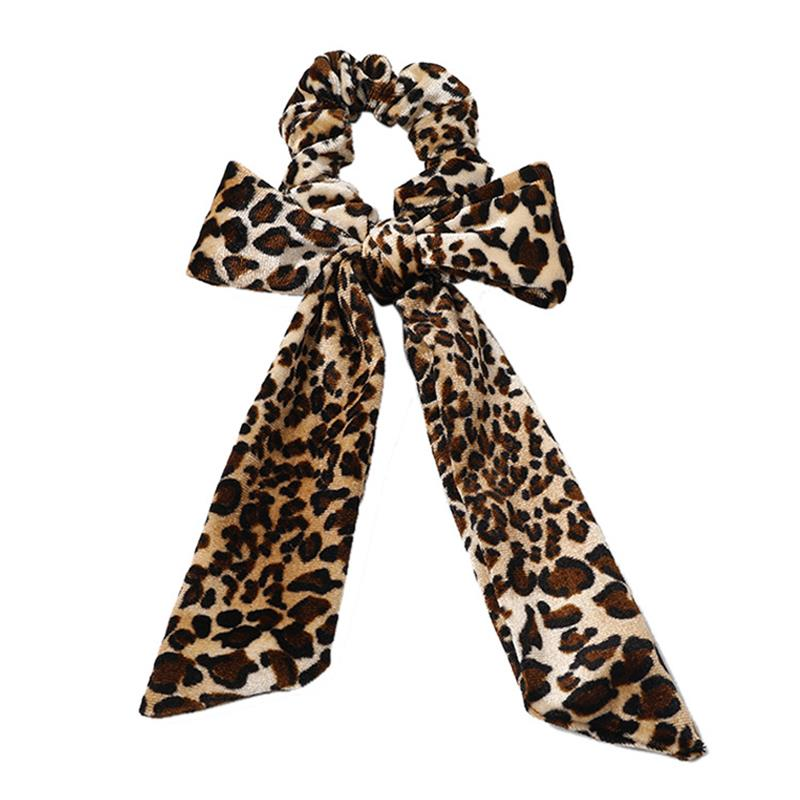 Retro Leopard Knotted Velvet Scrunchies Streamers Bow Hair Rope Women Soft Elastic Ribbon Bands Girls Hair Ties Hair Accessories