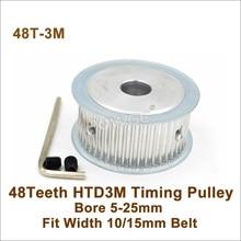 Polea síncrona POWGE de 48 dientes de 3M con agujero de 5 25mm de ancho de ajuste 10/15mm 3M Correa 48 T 48 dientes HTD 3M polea de correa de distribución 48 3M AF