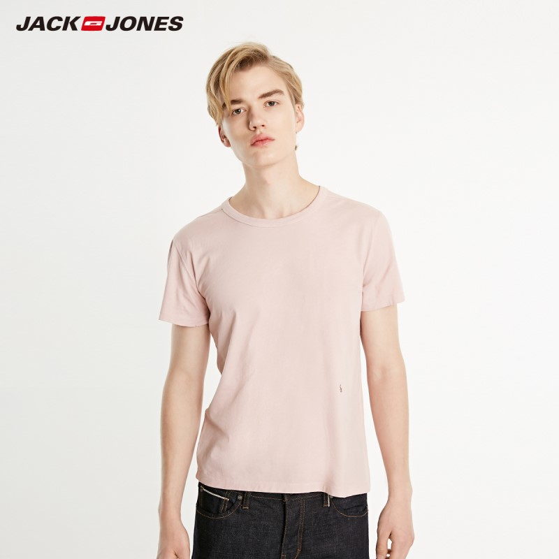 JackJones Men's Basic 100% Cotton Embroidered Logo Short-sleeved T-shirt| 219101600