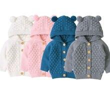Милый детский свитер с капюшоном для маленьких мальчиков и девочек, пальто однотонные вязаные теплые куртки с длинными рукавами и пуговицами, верхняя одежда для детей от 0 до 24 месяцев