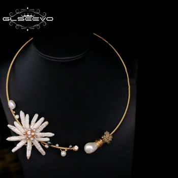 GLSEEVO Natural Fresh Water Baroque Pearl Handmade Adjustable Flower Collar Necklace For Women Gifts Luxury Fine Jewelry GN0062