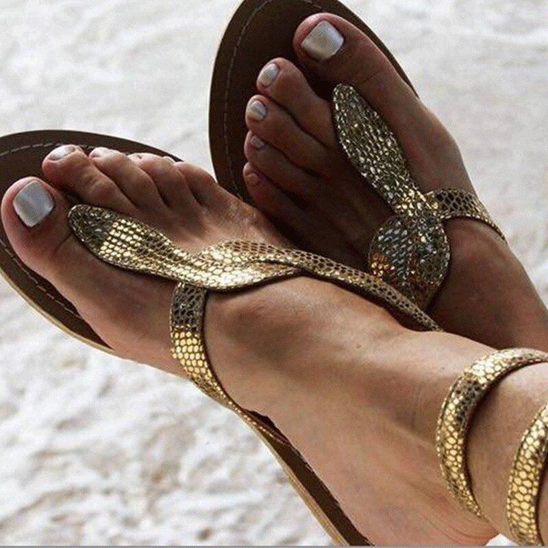 Woman Summer Glitter Sandals Women Gladiator Ladies Clip Toe Golden Flip Flops Female Flats Women's Cross Tie Shoes 2020 New