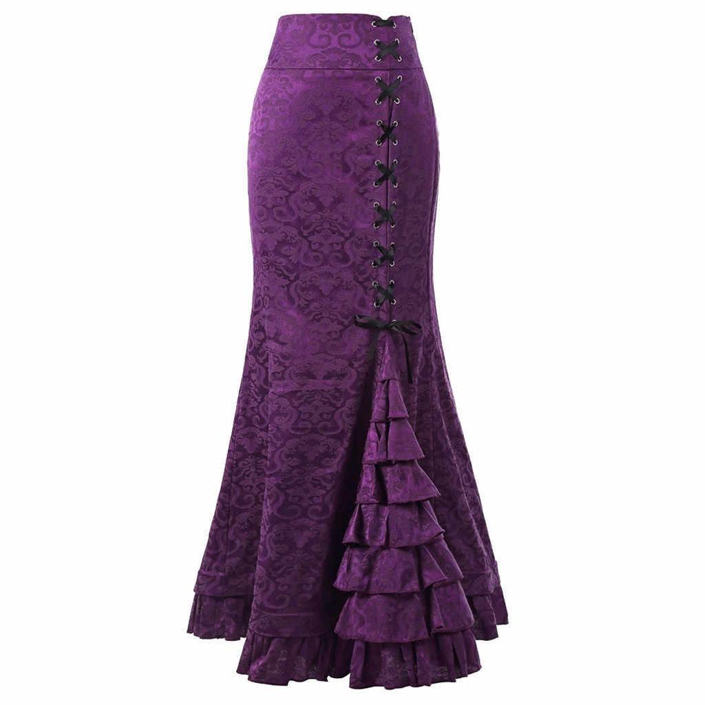 Feitong 女性パンクスタイルレトロスカートヴィンテージロングフリルスリムフィットフィッシュテールスカートパーティー着用フィットボディコンミディドレススカート