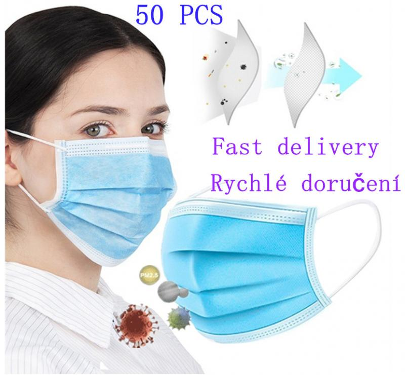 3-layer Protection Mask 50pcs Anti Fog Dust-proof Non-woven Masks Disposable Anti Dust Mask Daily Protective Mask Air Purified