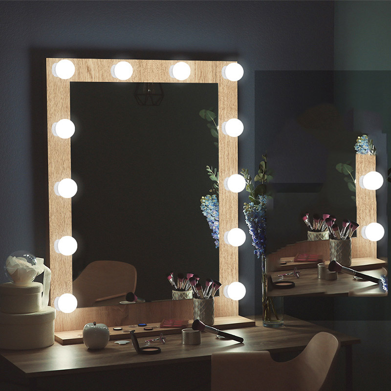 Dressing Table LED 12V Makeup Mirror Light Bulb Vanity Lights Stepless Dimmable USB Charging Port Adjustable Brightness Lights