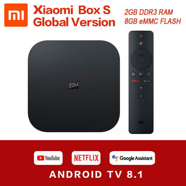 샤오미 Mi TV 박스 S 4K HDR 안드로이드 TV 8.1 울트라 HD 2G 8G WIFI 미디어 플레이어, 구글 캐스트 넷플릭스 세트톱 Mi 박스 4 정품 글로벌