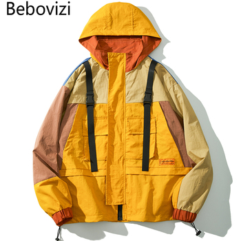 Bebovizi Harajuku Men Casual Coat Hoodies Hip Hop Zipper Windbreaker Streetwear Color Block Patchwork Ribbon Yellow Jacket guo chao tang 2019 new autumn irregularity color patchwork printed plaid men shirts hip hop casual ribbon male shirt streetwear