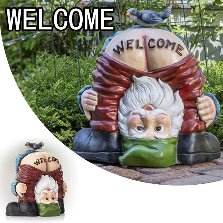 Funny Welcome Gnome With Bird Statue, Outdoor Bird Statues