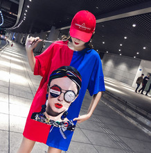 Spring and summer new style Loose cotton short sleeves New long sleeve t-shirt print