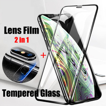 2 in 1 Back Camera Lens Protective Glass For iPhone X XS MAX XR 8 7 6 6S Plus Screen Protector Film 9D Tempered