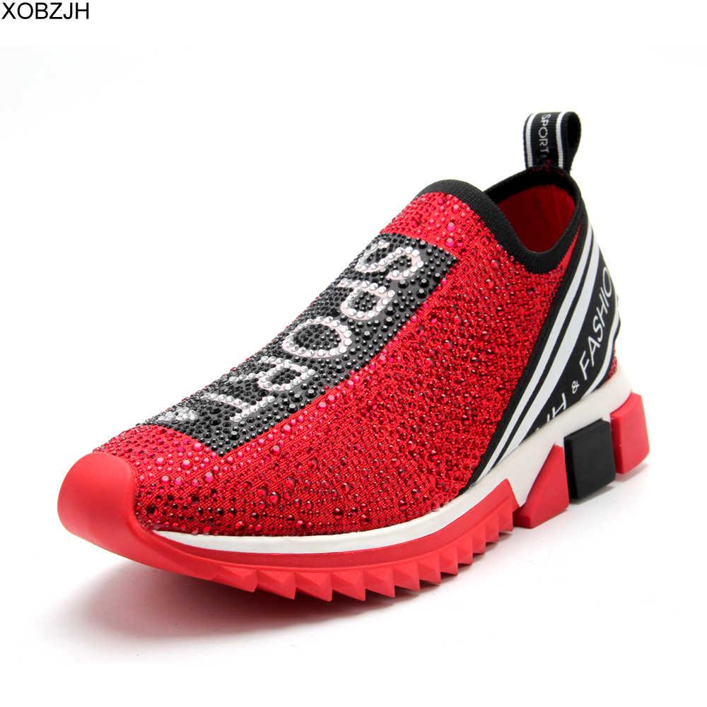 Chaussettes de luxe pour homme et femme, baskets rouges et noires de bonne qualité, chaussures de styliste, marque tendance, strass, taille 44, collection décontracté